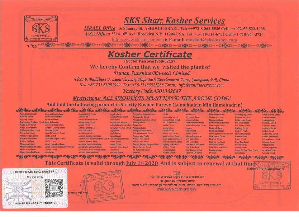 Sunshine, Bio-Tech,  Kosher, Certification