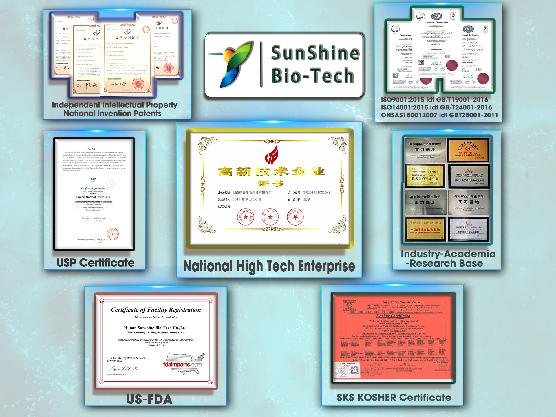 SQT Sunshine Biotech is the National High-Tech Enterprise of China